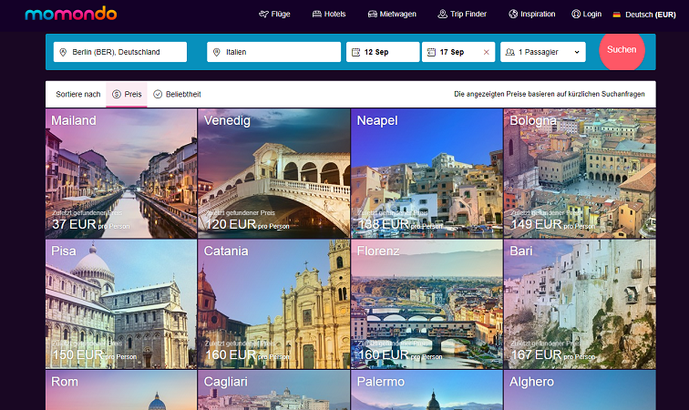 Wohin in den Urlaub - Flüge nach Italien