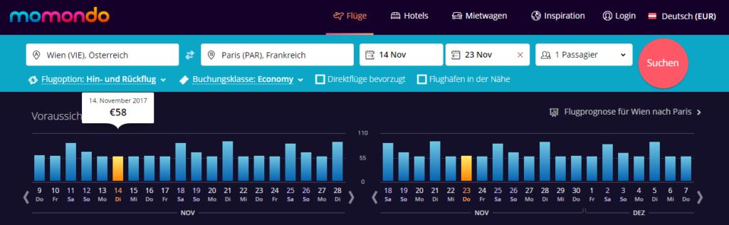 Welcher Wochentag ist am günstigsten zum Fliegen - Wien-Paris